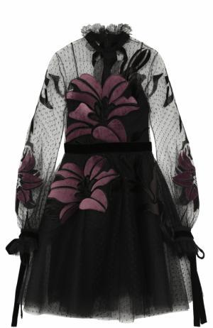 Приталенное мини-платье с длинным рукавом Elie Saab. Цвет: черный
