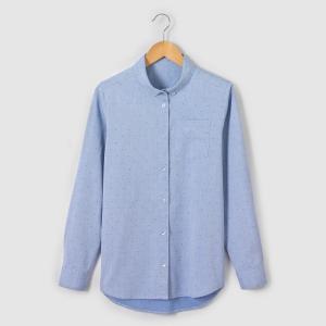 Рубашка с воротником-поло и рисунком в горох La Redoute Collections. Цвет: синий