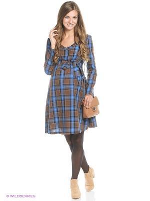 Платье MammySize. Цвет: синий, коричневый