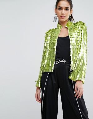 ASOS Пиджак с пайетками. Цвет: зеленый