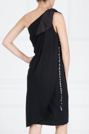 Платье из шерсти и шелка Azzaro. Цвет: черный
