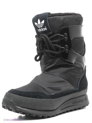 Дутики Adidas. Цвет: черный