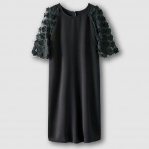 Платье из двух материалов с цветочным рисунком MADEMOISELLE R. Цвет: коралловый,слоновая кость
