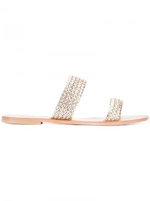 Плетеные сандалии Joie. Цвет: металлический