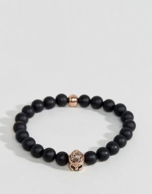 Seven London Черно-золотистый браслет из бусин. Цвет: черный