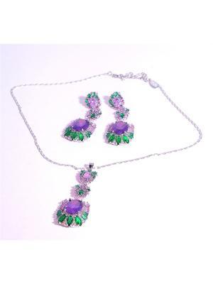 Комплект: ожерелье и серьги White Daisy. Цвет: красный
