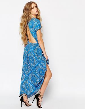 Jens Pirate Booty Голубое платье с платочным принтом. Цвет: синий