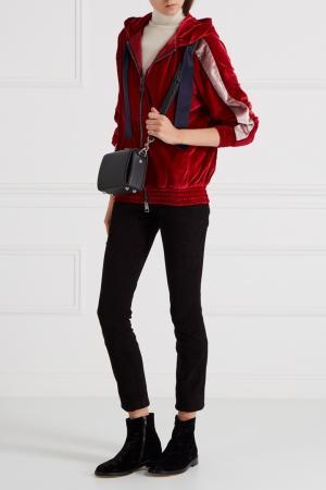 Бархатная олимпийка с капюшоном Forte Couture. Цвет: красный