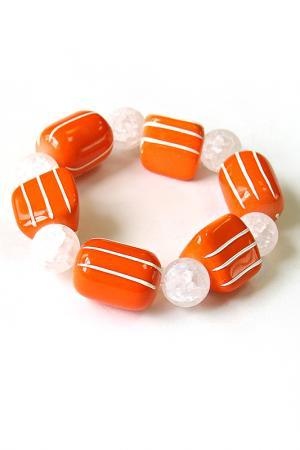 Браслет и серьги Mandarino Divetro. Цвет: оранжевый, белый
