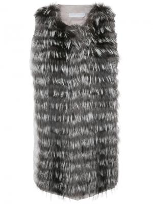 Жилет с каскадной меховой отделкой Fabiana Filippi. Цвет: серый