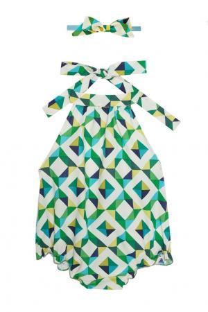 Хлопковый комплект «Веселая геометрия» SASHA Petit Gâteau. Цвет: зеленый