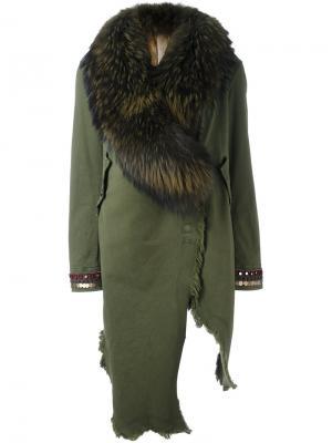 Асимметричное пальто с декорированными рукавами Bazar Deluxe. Цвет: зелёный