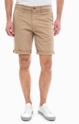 Бежевые шорты из хлопка Wrangler. Цвет: бежевый