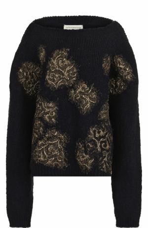 Пуловер фактурной вязки с вырезом-лодочка Faith Connexion. Цвет: темно-синий