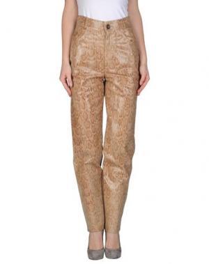 Кожаные брюки MARIELLA BURANI. Цвет: бежевый