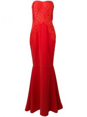 Кружевное длинное платье Rhea Costa. Цвет: красный