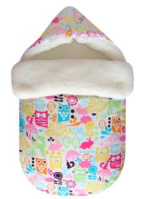 Конверт на овчине JustCute Веселый зоопарк (зима) СуперМаМкет. Цвет: молочный