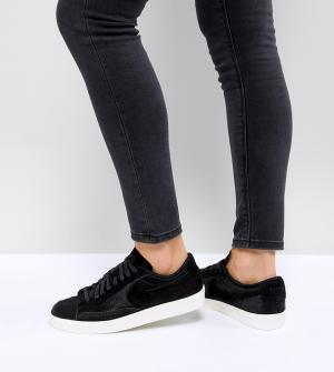Nike Черные низкие премиум-кроссовки с эффектом ворса пони Blazer. Цвет: черный