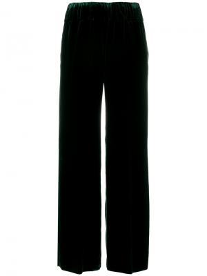 Расклешенные бархатные брюки Aspesi. Цвет: зелёный