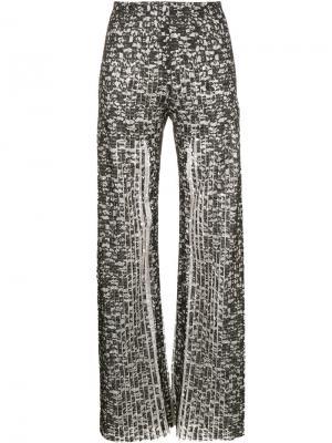 Плиссированные кружевные брюки Huishan Zhang. Цвет: чёрный