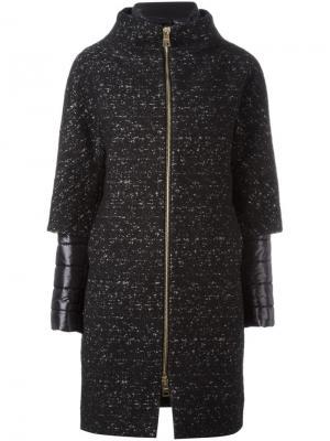 Стеганое пальто с многослойными рукавами Herno. Цвет: чёрный