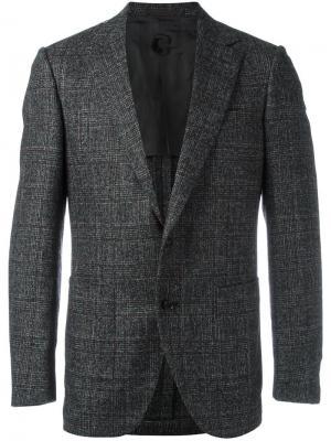 Пиджак с заостренными лацканами в клетку Caruso. Цвет: чёрный
