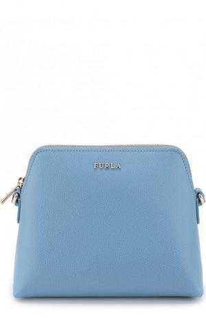 Набор из кожаной сумки-кошелька Boheme с косметичкой и визитницей Furla. Цвет: голубой