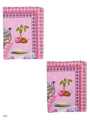 Набор полотенец вафельных кухонных Римейн. Цвет: розовый