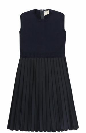 Шерстяное платье с плиссированной юбкой Caf. Цвет: темно-синий
