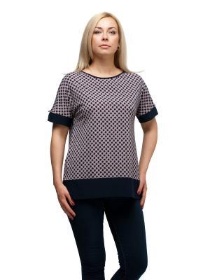 Блуза OLSI. Цвет: темно-синий, бледно-розовый