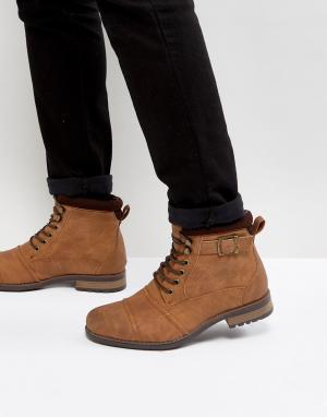 New Look Светло-коричневые армейские ботинки с пряжками. Цвет: рыжий