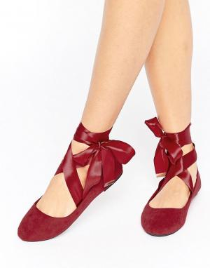Raid Бордовые балетки с завязками. Цвет: красный