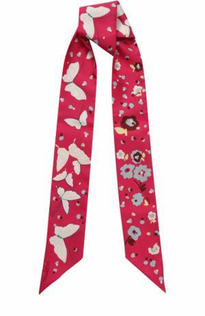Шелковый шарф-бандо с принтом Valentino. Цвет: фуксия