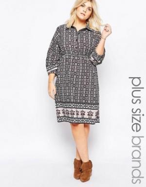 Diya Платье-рубашка с принтом Plus. Цвет: темно-синий