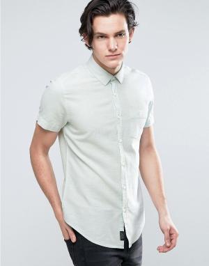 Threadbare Рубашка из хлопка и льна с короткими рукавами. Цвет: синий