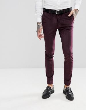 RUDIE Облегающие бархатные брюки под смокинг. Цвет: красный