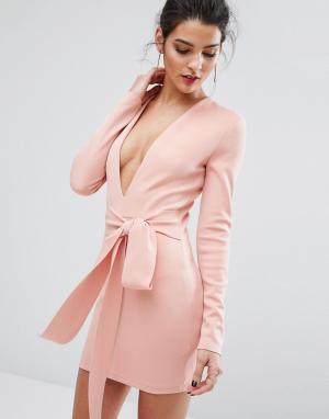 Bec & Bridge Платье с длинными рукавами и поясом India Rosa. Цвет: розовый