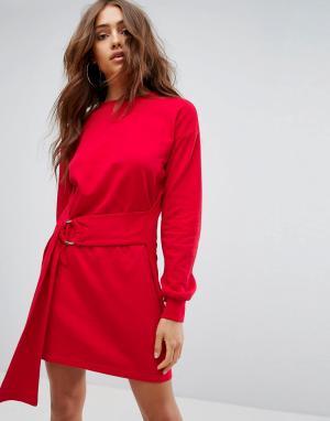 Boohoo Трикотажное платье с кольцами. Цвет: красный