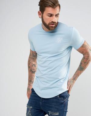 SikSilk Обтягивающая футболка с логотипом. Цвет: синий