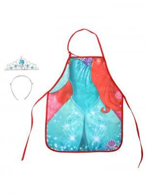 Фартук с диадемой, Принцессы Disney. Цвет: морская волна, малиновый, светло-коралловый