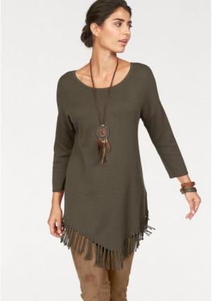 Удлиненный пуловер BOYSENS BOYSEN'S. Цвет: хаки
