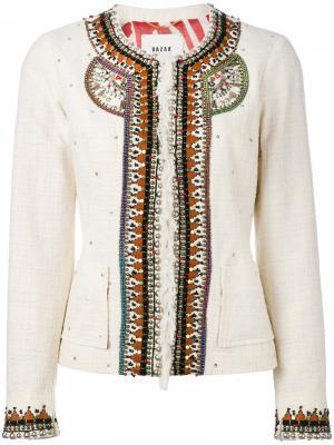 Пиджак с вышивкой Bazar Deluxe. Цвет: телесный