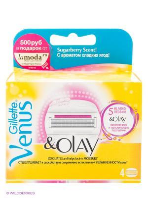 Сменные кассеты для бритья Venus&Olay, с ароматом сладких ягод, 4 шт VENUS. Цвет: розовый