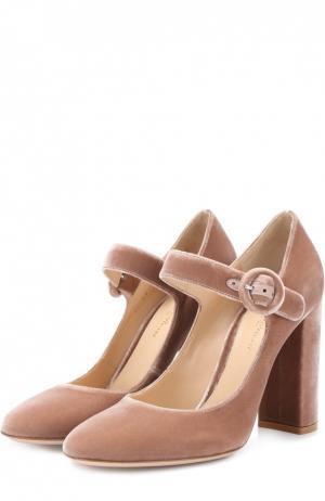 Бархатные туфли Lorraine с ремешком Gianvito Rossi. Цвет: темно-бежевый