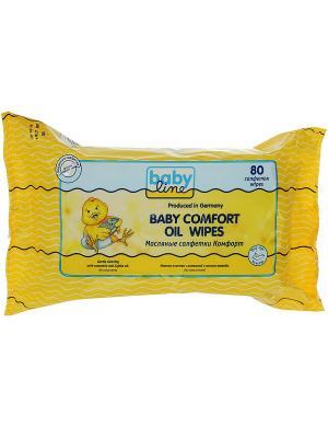 Масляные салфетки Комфорт, 80 шт. Babyline. Цвет: желтый
