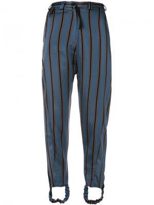 Striped slim fit trousers Barbara Bologna. Цвет: синий