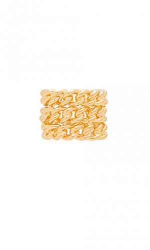 Наборное кольцо bodhi Amber Sceats. Цвет: металлический золотой