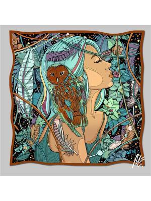 Платок с авторским арт-принтом Bubo-bubo подскажет-из твилла Оланж Ассорти. Цвет: морская волна, серо-коричневый