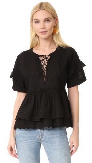 Блуза с оборками The Kooples. Цвет: голубой