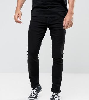 Nudie Jeans Черные выбеленные удлиненные джинсы скинни TALL. Цвет: черный
